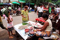Burma women Selling Fish at Local Market, yangon, myanmar