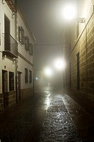 cobbled street at night with fog lights and backlit, monumental area of Baeza, Jaen, Andalucia, Spain, Europe