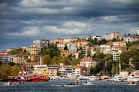 Istinye Harbour with coastal safety ships and pleasure boats on the Bosphorus Strait Istanbul Turkey