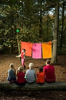 Childrens theater improvised in woods