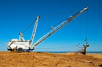Dragline excavator handling overburden at the De Beers diamond mine Kleinzee, Northern Cape province, South Africa