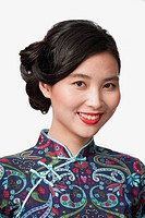 Smiling Chinese woman in traditional clothing