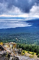 Storm clouds roll in over Lake Tahoe in the summer as seen from the Tahoe Rim Trail, CA.