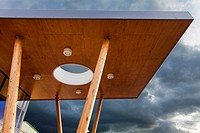 modern architecture canopy forming the entrance to Mountjoy School, Beaminister