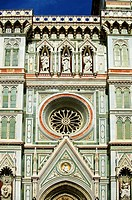Roase window and facade of the Gothic-Renaissance Duomo of Florence, Basilica of Saint Mary of the Flower, Firenza  Basilica di Santa Maria del Fiore ...