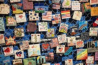 An exhibit of the tiles memorializing the World Trade Center victims, formerly on the corner of Seventh Ave S and Greenwich Avenue opens in the Jeffer...