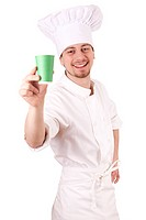 male chef with green cup