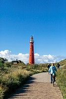Cyclists, Red Lighthouse, Schiermonnikoog, West Frisian Islands, Friesland, The Netherlands Holland, Europe