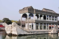 A Building On The Water´s Edge Built On A Boat, Beijing China