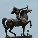 Birds Perched On An Equestrian Statue Against A Blue Sky, Chicago Illinois United States Of America