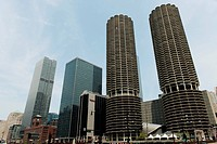 Low Angle View Of Two Round Skyscrapers, Chicago Illinois United States Of America