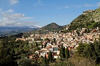 The town of Taormina in Sicily viewed from the Teatro Greco, Italy