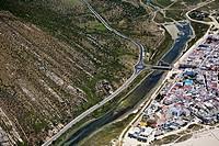 Zahara de los Atunes. entrance roundabout and river Cádiz area. Spain Aerial view. Cádiz area. Spain Aerial view