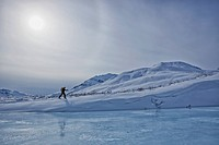 A cross_country skier in the klondike valley of tombstone territorial park, yukon canada