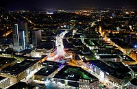 View across Frankfurt am Main at night, Germany