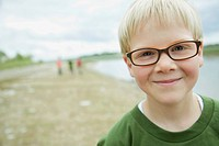 Portrait of male, elementary student on field trip