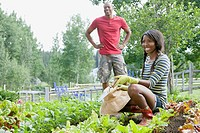 Young African_American couple working in vegetable garden