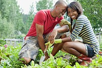 African_American couple being affectionate in vegetable garden