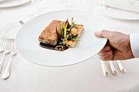 Close up of waiter's hand serving meal in restaurant