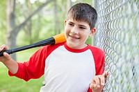 Young male baseball player with baseball bat (thumbnail)