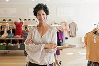 Portrait of owner of women´s clothing store.