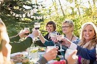 Family making a toast with wine at an outdoor dinner.