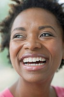 Close_up of African American woman smiling