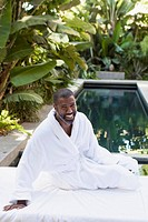 Handsome middle-aged man at outdoor spa (thumbnail)