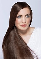 Beauty with dark, smooth and long hair