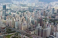 Bird´s eye sweep of Mongkok and Yaumatei area from Sky100, 393 metres above sea level, Hong Kong