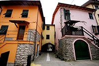 Colour houses in a square of Brugnato, La Spezia province, Liguria, Italy
