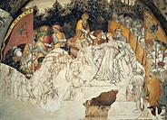 Stories of Romulus and Remus, Rhea Silvia execution of frescoes by Gentile da Fabriano, loggia of Palazzo Trinci, Foligno, Umbria. Italy, 15th century...