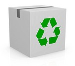 carton box and recycling symbol