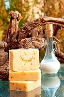Hand_made lavender soap still life with milk