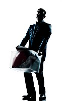 silhouette man full length fired carrying heavy box