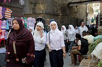 EGYPT  Street scenes in so called 'Islamic Cairo', the old quarter of the city near Bab Zuela  School girls walking home