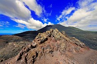 canary islands, la palma : volcano teneguia in front of volcano san antonio