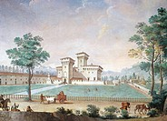 Villa Medici Cafaggiolo, 1753-1754, fresco by Giuseppe Zocchi (1711-1767). Audience Hall, Villa of the Imperial Hill, Florence. Italy, 18th century.