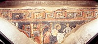 Martyrdom of St James the Great, 11th century fresco, Collegiate church of Saint Peter and Ursus, Aosta. Italy, 11th century.