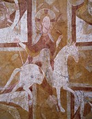 Christ on a white horse, detail from 12th century fresco in the vault of the crypt, Cathedral of Auxerre, France.
