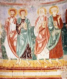 Apostles, 13th century, detail of fresco from the apse of the Basilica of Santa Maria Libera in Foro Claudio, also known as Episcopio, Ventaroli, Camp...