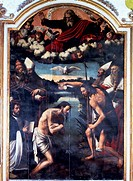 Baptism of Jesus, 1535, painting by an unknown Spanish artist attributed to Juan de Juanes, preserved within the Valencia cathedral, Spain.