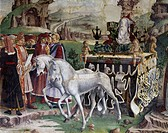 Triumph of Minerva, scene from Month of March, ca 1470, by Francesco del Cossa (ca 1435-1477), fresco, east wall, Hall of the Months, Palazzo Schifano...