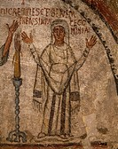 The deceased Cominia, detail of 5th century fresco, Catacombs of San Gennaro, Naples, Campania. Italy, 5th century.