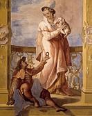 Fresco, by Jacopo Guarana (1720-1808), Villa Contarini, Valnogaredo, Cinto Euganeo, Veneto. Detail. Italy, 18th century.