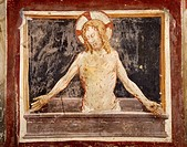 Pieta, fresco in the Lower Church of Sacro Speco Monastery, Subiaco. Italy, 12th century.
