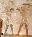 Fighting between warriors, detail from the celebration of the military glories of the Castelbarcos, fresco, home guards, Castle of Avio, Sabbionara d'...