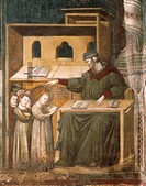 Education of St Nicholas, scene from the Stories of St Nicholas of Tolentino, 1320-1325, by an unknown artist, fresco, Chapel of St Nicholas, Basilica...