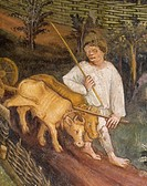 Plowing the fields, detail from the Month of April, panel taken from Cycle of the Months, by Master Venceslao, fresco, Tower Aquila, Buonconsiglio Cas...