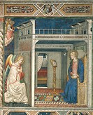 The Annunciation, 14th century fresco, by an unknown Florentine artist. Church of Santa Maria Novella, Florence. Italy, 14th century.